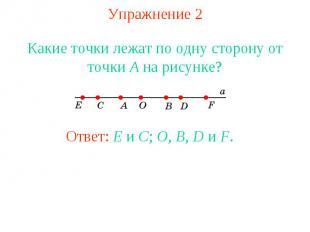 Упражнение 2 Какие точки лежат по одну сторону от точки A на рисунке?Ответ: E и