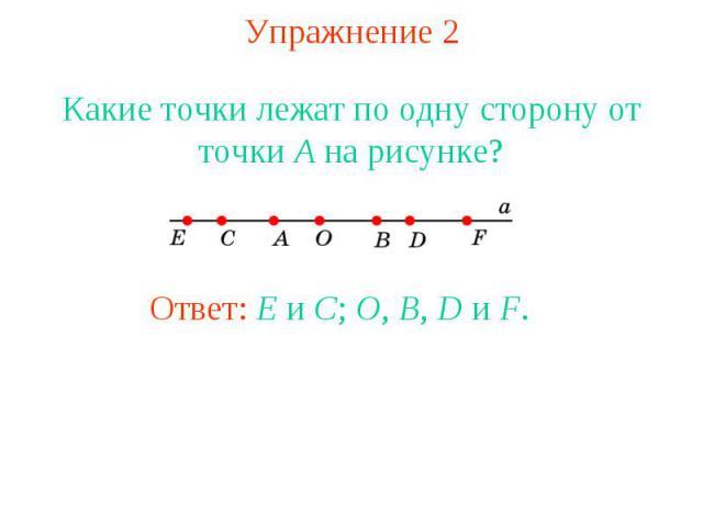 Упражнение 2 Какие точки лежат по одну сторону от точки A на рисунке?Ответ: E и C; O, B, D и F.
