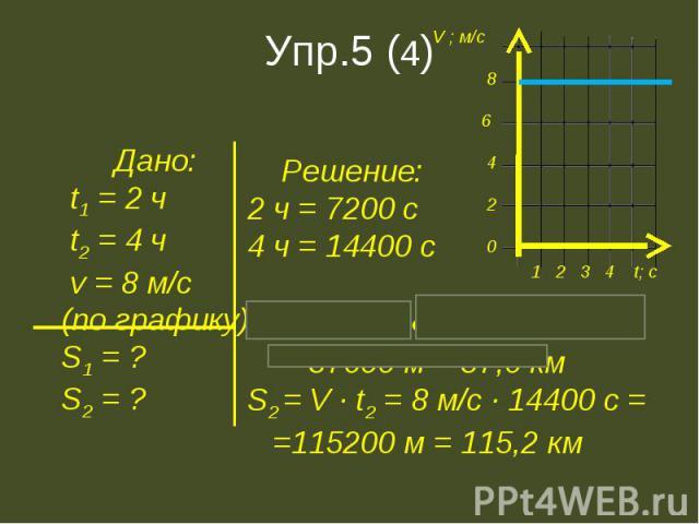 Дано: t1 = 2 ч t2 = 4 ч v = 8 м/с(по графику)S1 = ?S2 = ? Решение:2 ч = 7200 с4 ч = 14400 сS1 = V ∙ t1 = 8 м/с ∙ 7200 с = =57600 м = 57,6 кмS2 = V ∙ t2 = 8 м/с ∙ 14400 с = =115200 м = 115,2 км