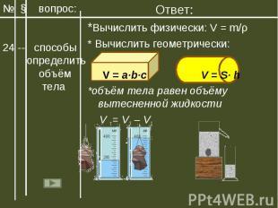 Ответ:*Вычислить физически: V = m/ρ* Вычислить геометрически: V = a∙b∙c V = S∙ h