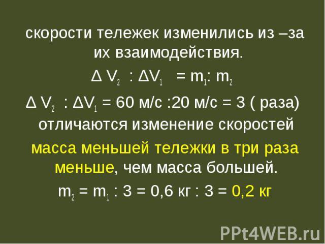 скорости тележек изменились из –за их взаимодействия.Δ V2 : ΔV1 = m1: m2 Δ V2 : ΔV1 = 60 м/с :20 м/с = 3 ( раза) отличаются изменение скоростей масса меньшей тележки в три раза меньше, чем масса большей. m2 = m1 : 3 = 0,6 кг : 3 = 0,2 кг