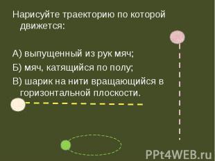 Нарисуйте траекторию по которой движется:А) выпущенный из рук мяч;Б) мяч, катящи