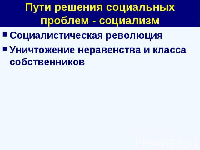 Пути решения социальных проблем - социализм Социалистическая революцияУничтожение неравенства и класса собственников