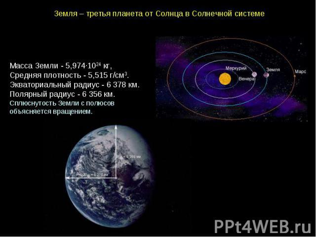 Земля–третьяпланетаотСолнцавСолнечнойсистеме МассаЗемли-5,974∙1024 кг, Средняяплотность- 5,515 г/см3. Экваториальныйрадиус- 6 378 км. Полярныйрадиус- 6 356 км.СплюснутостьЗемлисполюсовобъясняетсявращением.