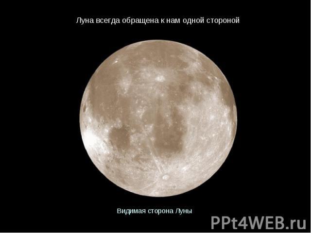 Луна всегда обращена к нам одной стороной Видимая сторона Луны