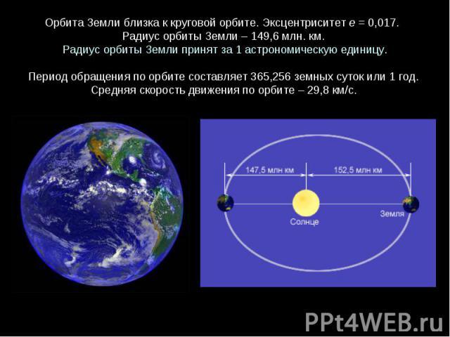 ОрбитаЗемлиблизкаккруговойорбите. Эксцентриситете = 0,017. Радиус орбиты Земли – 149,6 млн. км. Радиус орбиты Земли принят за 1 астрономическую единицу.Периодобращенияпоорбитесоставляет365,256 земныхсутокили1 год. Средняяскоростьдвиж…