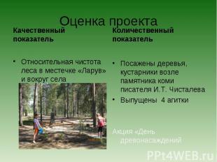 Оценка проекта Качественный показательОтносительная чистота леса в местечке «Лар