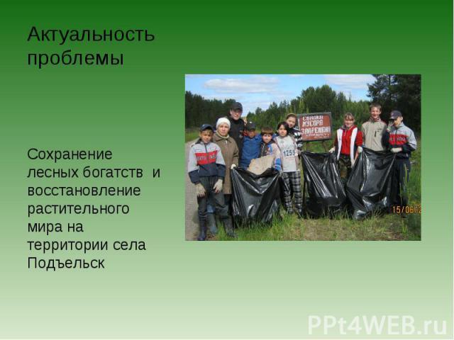 Актуальность проблемы Сохранение лесных богатств и восстановление растительного мира на территории села Подъельск