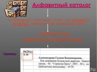 Алфавитный каталог (АК) КАТАЛОЖНЫЕ КАРТОЧКИ СТОЯТ ПО АЛФАВИТУ ФАМИЛИЙ АВТОРОВ ИЛ