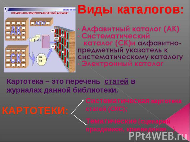Виды каталогов: Алфавитный каталог (АК) Систематический каталог (СК)и алфавитно- предметный указатель к систематическому каталогу Электронный каталогКартотека – это перечень статей в журналах данной библиотеки.КАРТОТЕКИ:Систематическая картотека ста…
