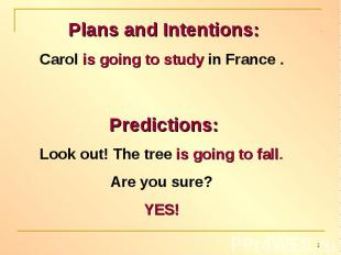 Plans and Intentions:Carol is going to study in France . Predictions:Look out! T