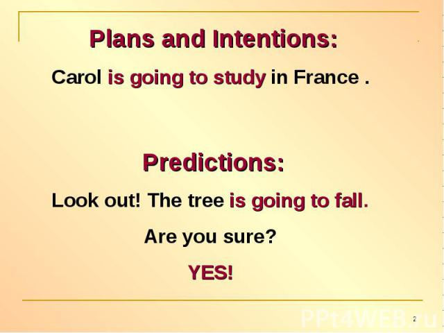 Plans and Intentions:Carol is going to study in France . Predictions:Look out! The tree is going to fall.Are you sure? YES!