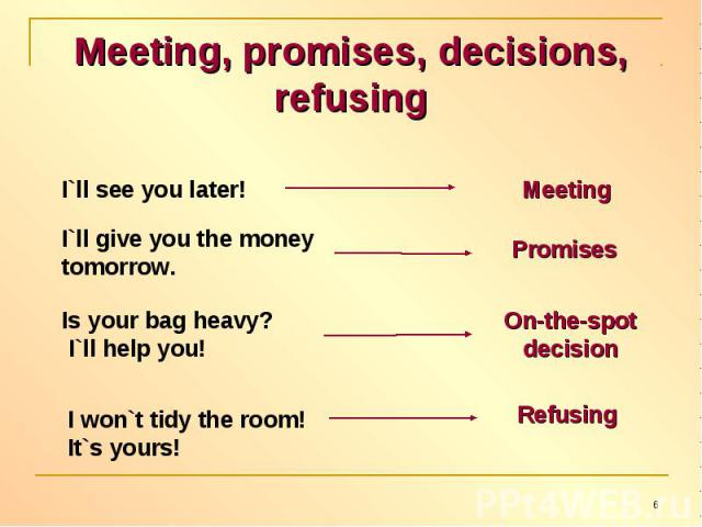 Meeting, promises, decisions, refusing