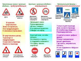 В красном треугольнике Знаки осторожные, Они предупреждают, К вниманью призывают