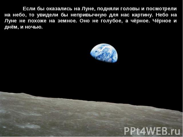 Если бы оказались на Луне, подняли головы и посмотрели на небо, то увидели бы непривычную для нас картину. Небо на Луне не похоже на земное. Оно не голубое, а чёрное. Чёрное и днём, и ночью.