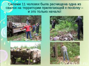Силами 11 человек была расчищена одна из свалок на территории прилегающей к посё