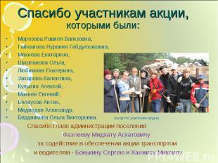 Спасибо участникам акции, которыми были: Морозова Равиля Вагизовна, Гайнанова Ну