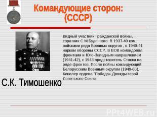 Командующие сторон:(СССР)С.К. ТимошенкоВидный участник Гражданской войны, соратн