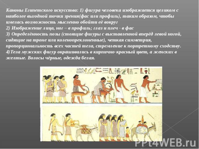 Каноны Египетского искусства: 1) фигура человека изображается целиком с наиболее выгодной точки зрения(фас или профиль), таким образом, чтобы имелась возможность мысленно обойти её вокруг2) Изображение лица, ног – в профиль; глаз и плеч - в фас3) Оп…