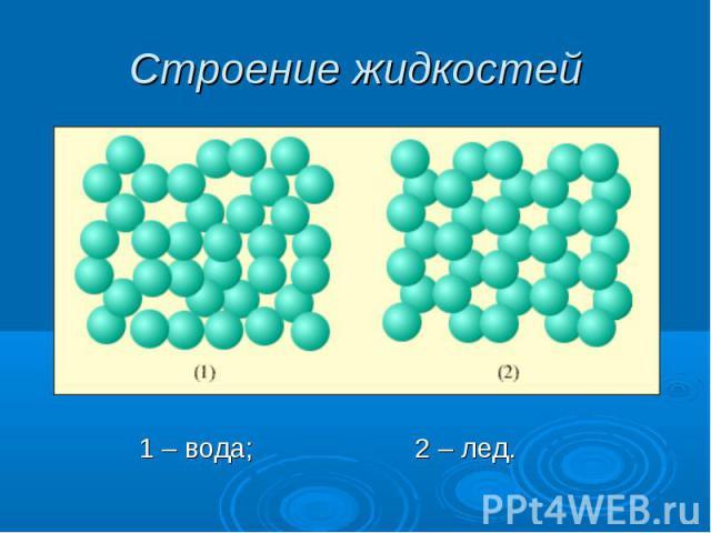 Строение жидкостей 1 – вода; 2 – лед.