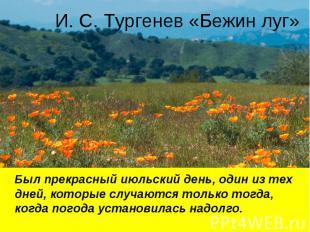 И. С. Тургенев «Бежин луг» Был прекрасный июльский день, один из тех дней, котор