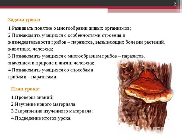 Задачи урока:Развивать понятие о многообразии живых организмов;Познакомить учащихся с особенностями строения и жизнедеятельности грибов – паразитов, вызывающих болезни растений, животных, человека;Познакомить учащихся с многообразием грибов – парази…