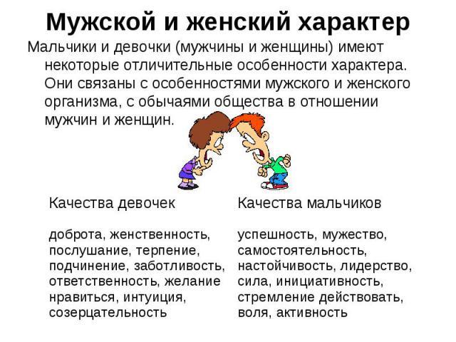 Мужской и женский характер Мальчики и девочки (мужчины и женщины) имеют некоторые отличительные особенности характера. Они связаны с особенностями мужского и женского организма, с обычаями общества в отношении мужчин и женщин.