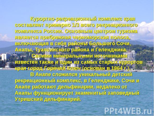 Курортно-рекреационный комплекс края составляет примерно 1/3 всего рекреационного комплекса России. Основным центром туризма является прибрежная черноморская полоса, включающая в себя районы Большого Сочи, Анапы, Туапсинского района и Геленджика. Св…