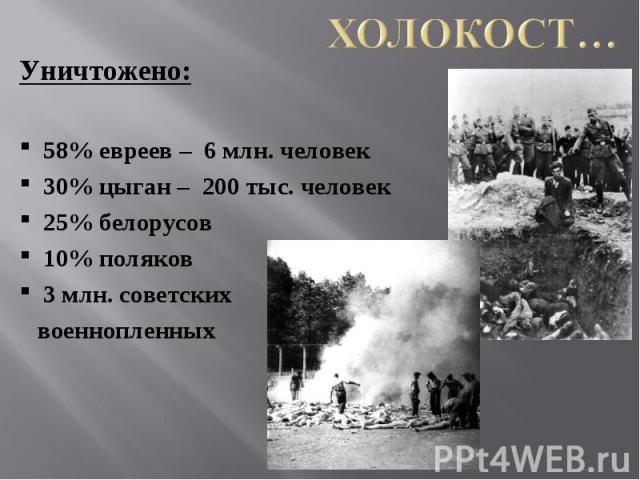 Холокост… Уничтожено:58% евреев – 6 млн. человек30% цыган – 200 тыс. человек25% белорусов10% поляков3 млн. советских военнопленных