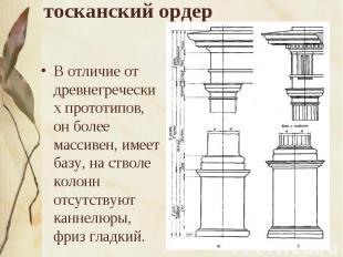 тосканский ордер В отличие от древнегреческих прототипов, он более массивен, име
