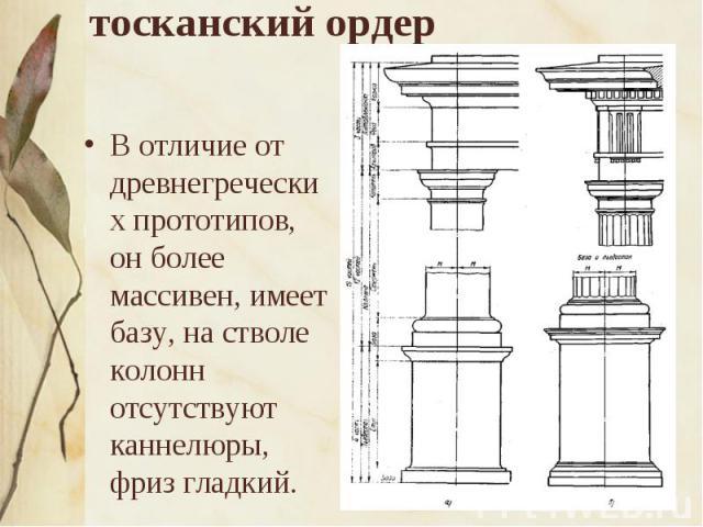 тосканский ордер В отличие от древнегреческих прототипов, он более массивен, имеет базу, на стволе колонн отсутствуют каннелюры, фриз гладкий.