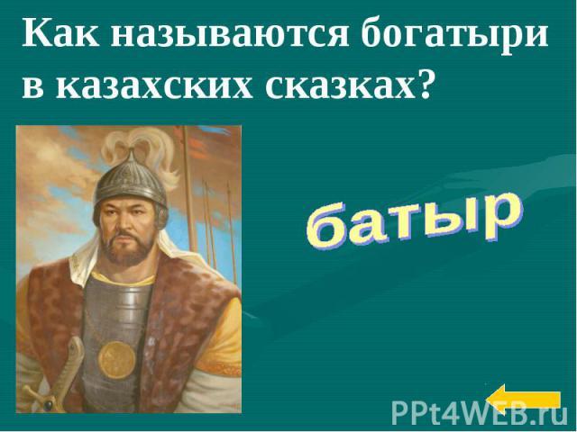 Как называются богатыри вказахских сказках?