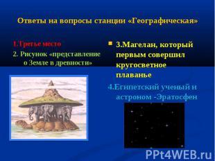 Ответы на вопросы станции «Географическая» 1.Третье место2. Рисунок «представлен