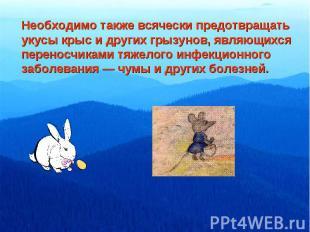Необходимо также всячески предотвращатьукусы крыс и других грызунов, являющихсяп