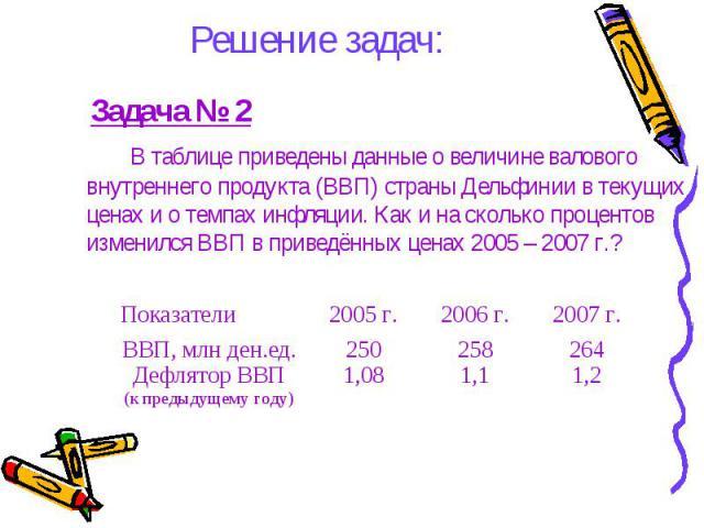 Решение задач: Задача № 2 В таблице приведены данные о величине валового внутреннего продукта (ВВП) страны Дельфинии в текущих ценах и о темпах инфляции. Как и на сколько процентов изменился ВВП в приведённых ценах 2005 – 2007 г.?