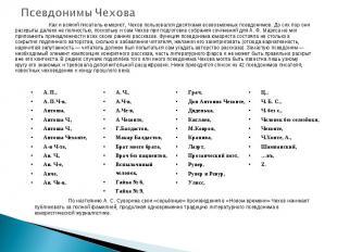 Псевдонимы Чехова Как и всякий писатель-юморист, Чехов пользовался десятками все