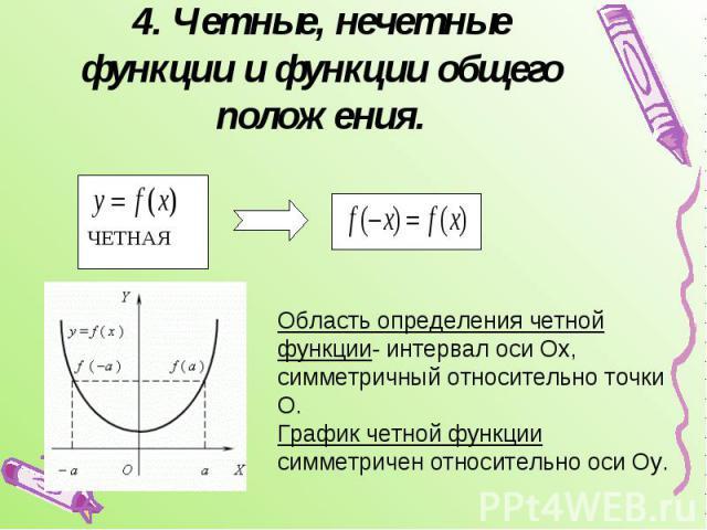 4. Четные, нечетные функции и функции общего положения. Область определения четной функции- интервал оси Ох, симметричный относительно точки О.График четной функции симметричен относительно оси Оу.