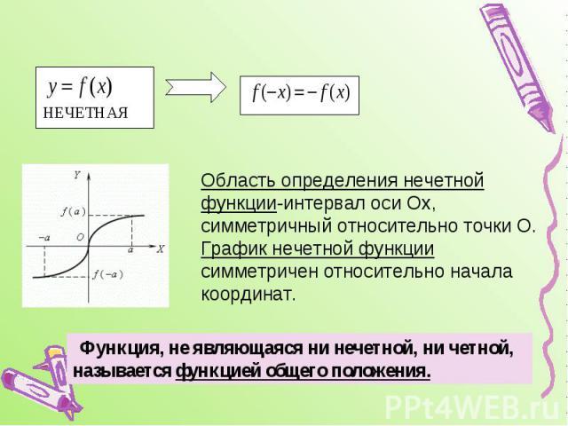 Область определения нечетной функции-интервал оси Ох, симметричный относительно точки О.График нечетной функции симметричен относительно начала координат. Функция, не являющаяся ни нечетной, ни четной, называется функцией общего положения.