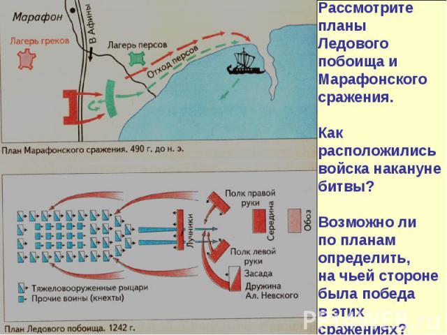 Рассмотрите планы Ледового побоища и Марафонского сражения. Как расположились войска накануне битвы? Возможно ли по планам определить, на чьей стороне была победа в этих сражениях?