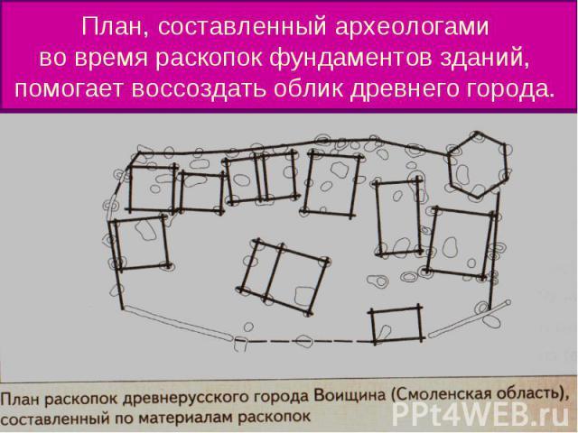 План, составленный археологами во время раскопок фундаментов зданий, помогает воссоздать облик древнего города.