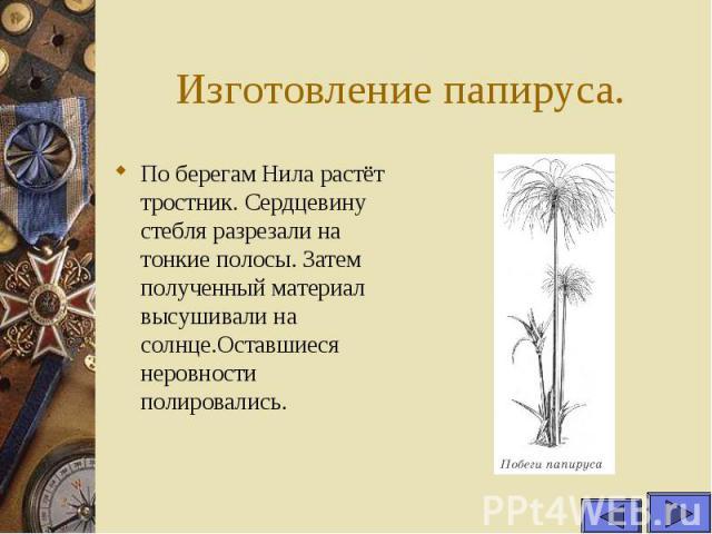 Изготовление папируса. По берегам Нила растёт тростник. Сердцевину стебля разрезали на тонкие полосы. Затем полученный материал высушивали на солнце.Оставшиеся неровности полировались.