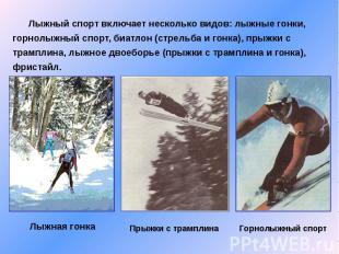 Лыжный спорт включает несколько видов: лыжные гонки, горнолыжный спорт, биатлон