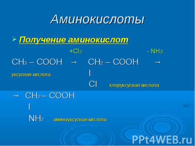 Аминокислоты Получение аминокислот +CI2 + NH3СН3 – СООН → CН2 – СООН → уксусная кислота l CI хлоруксусная кислота→ СН2 – СООН l NH2 аминоуксусная кислота