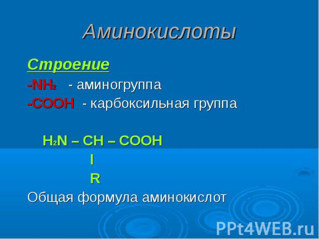 Аминокислоты Строение-NH2 - аминогруппа-СООН - карбоксильная группа Н2N – CH – COOH l RОбщая формула аминокислот