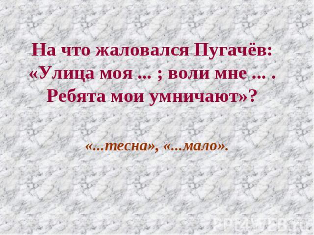 На что жаловался Пугачёв: «Улица моя ... ; воли мне ... . Ребята мои умничают»? «...тесна», «...мало».