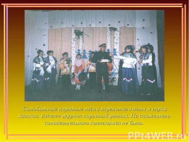 Самобытные народные песни перенимали дети и внуки казаков. Веселее журчал народный родник. Но слаженного самодеятельного коллектива не было.