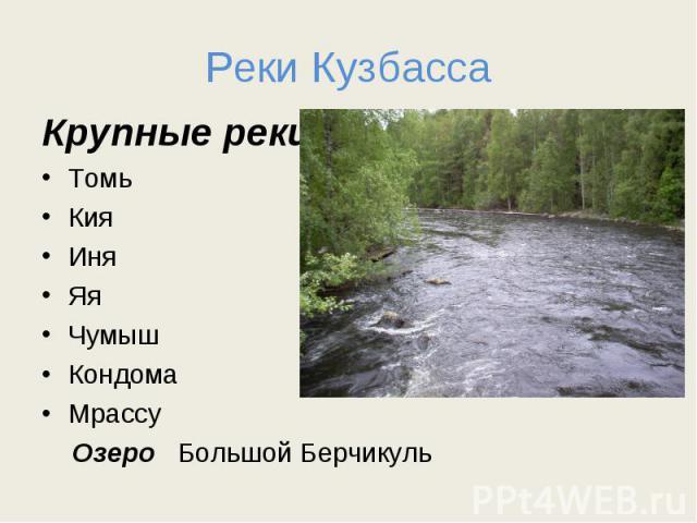Реки Кузбасса Крупные реки: ТомьКияИняЯяЧумышКондомаМрассу Озеро Большой Берчикуль
