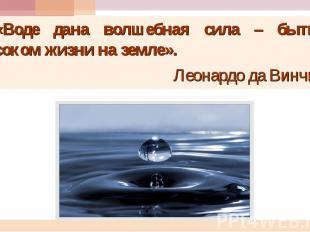 «Воде дана волшебная сила – быть соком жизни на земле». Леонардо да Винчи