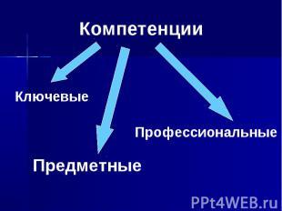 Компетенции КлючевыеПредметныеПрофессиональные