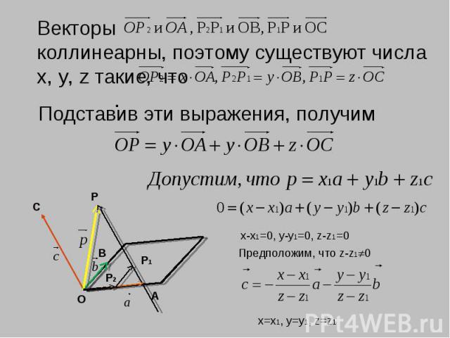 Векторы коллинеарны, поэтому существуют числа х, у, z такие, что .